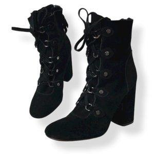 Splendid Rosa Lace Ankle Boots Black Suede 9